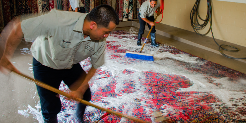 Persian Rug Being Cleaned