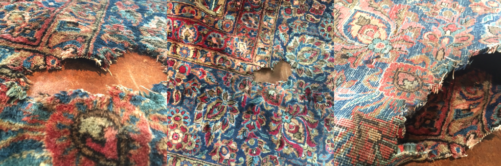 Persian rug with mold damage