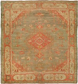 July1_Antique_oushak_carpet_with_a_pale_red_and_green_tone